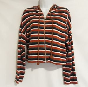 Honey Punch striped cropped hoodie